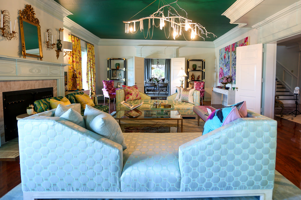 As seen in the 2016 Junior League of Chattanooga Showhouse, this gorgeous Wesley Hall Social Sofa from the Peter Jacob Collection was designed and produced for this event. The luxurious sofa is covered in a very light mint-colored quilted and embroidered, geometric-pattern silk by Robert Allen