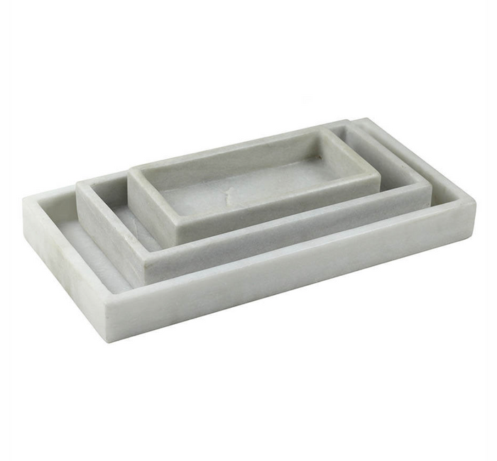 Set of Three Rectangular Marble Trays
