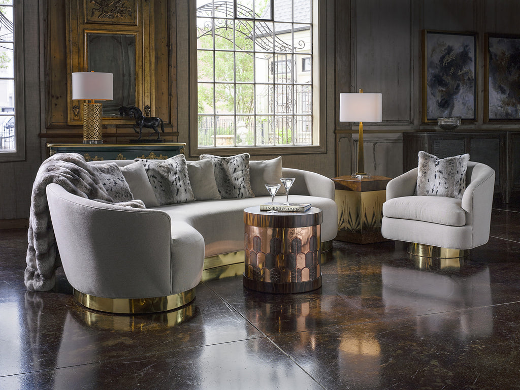 The Facet Collection was designed by Michelle Workman for French Heritage and is perfect for anyone looking to achieve that luxurious, high-end look in their home. Shown here: The Gibson Side Table in the Rosewood and copper finish.