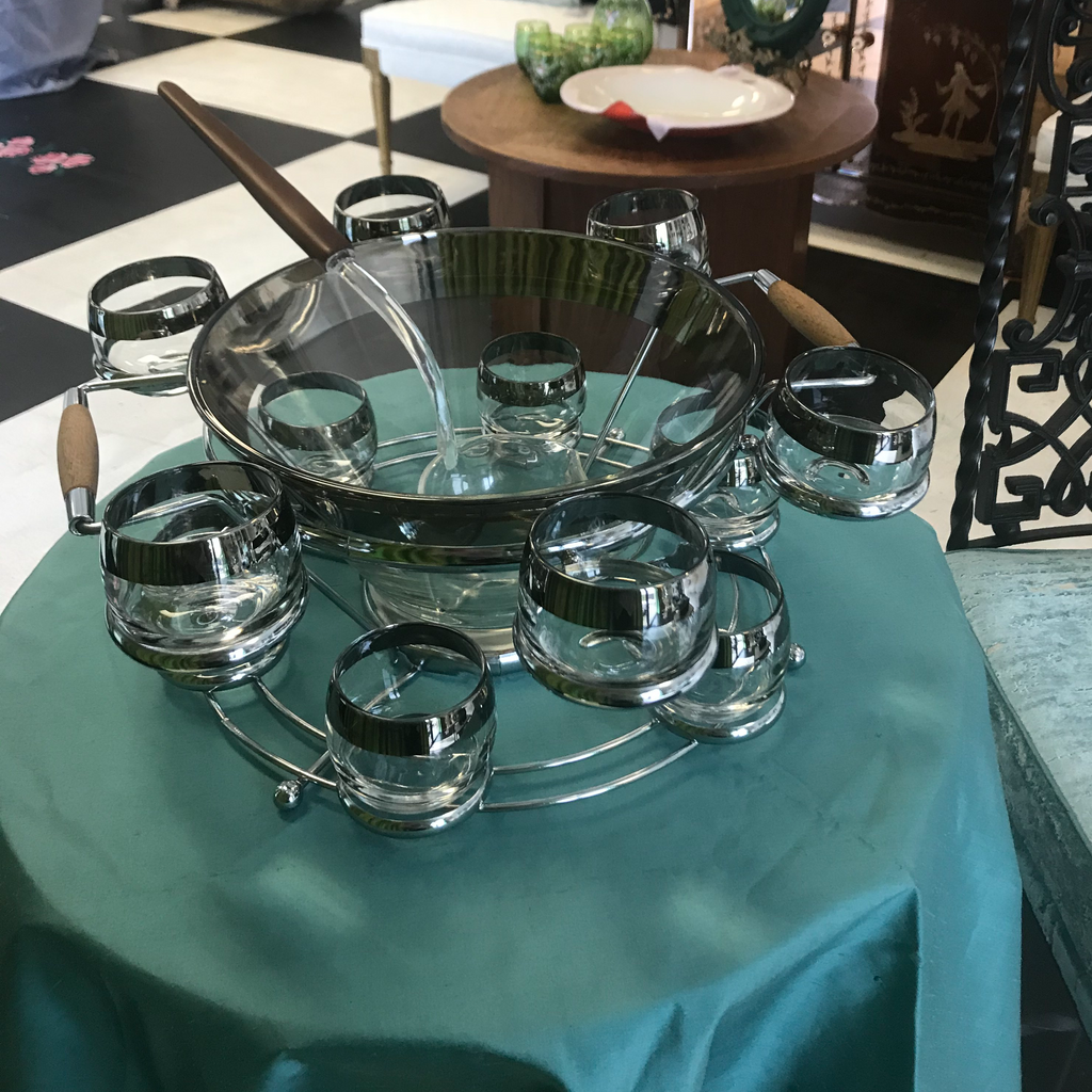 Dorothy Thorpe Vintage Mid-Century Modern Punch Bowl and Glasses