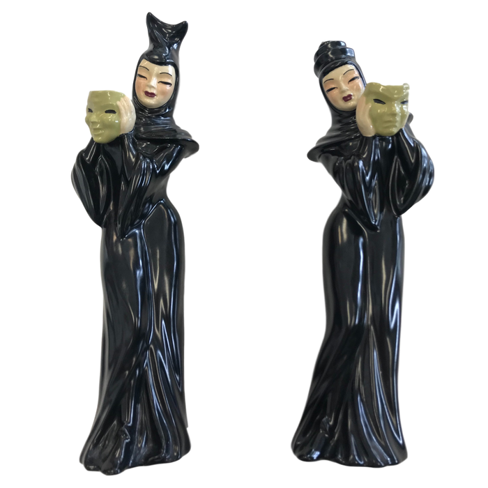 Vintage Ceramic Arts Studio Comedy and Tragedy Figurines