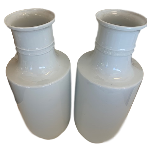Pair of White Porcelain Vases with Small Deco Motif Around Neck