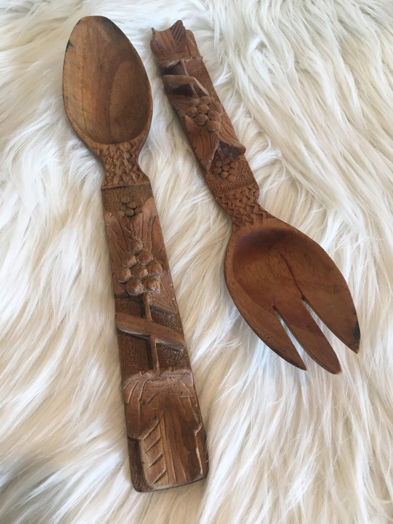 Carved wooden salad servers
