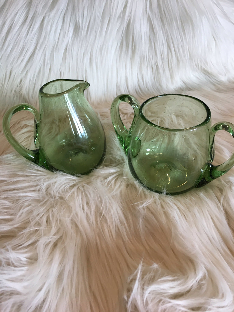 Hand Blown Green Glass Sugar and Creamer Set