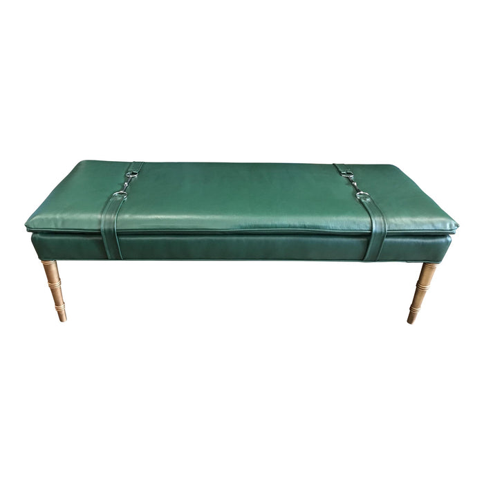 Wesley Hall Green Leather Bench