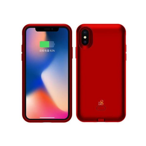 Reiko iPhone X Cell Phone Charging Battery Case with Qi Wireless Charging Red