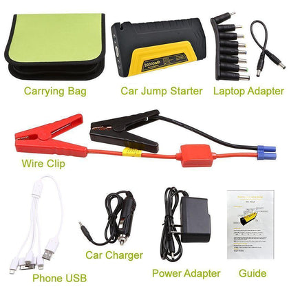 12V Portable 2 USB Red Car 20000mAh Power Bank Jump Starter Emergency Battery Kit by Modes