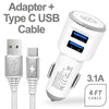 3.1A 2-in-1 Universal Dual USB Port Travel Car Charger With Type C USB Cable by Modes