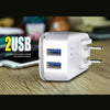 3.4A 2-in-1 Universal Dual USB Port Travel Wall Charger Adapter With iPhone USB Cable White by Modes