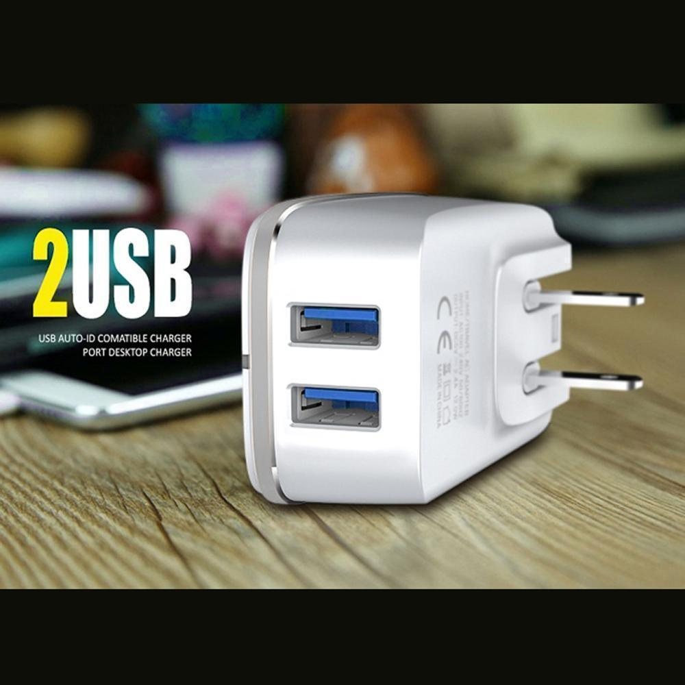 3.4A 2-in-1 Universal Dual USB Port Travel Wall Charger Adapter With Type-C USB Cable White by Modes
