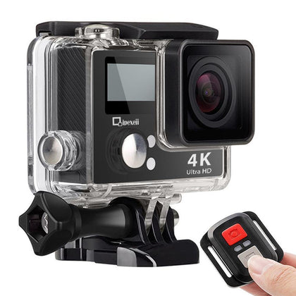 4k Wifi Sports Action Camera with Waterproof Case Double Screen Sensor 170° Wide Angle (Black)