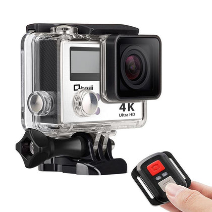 4k Wifi Sports Action Camera with Waterproof Case Double Screen Sensor 170° Wide Angle (Silver)