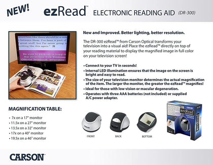 Carson ezRead Electronic Digital Reading Aid Seeing Impaired Magnifier Carson DR-200 - mobileiGo.com