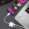 Apple iPhone / iPad Dual Charging Lightning and Headphones Earphones 3.5mm Audio Jack and Adapter Cable White by Modes