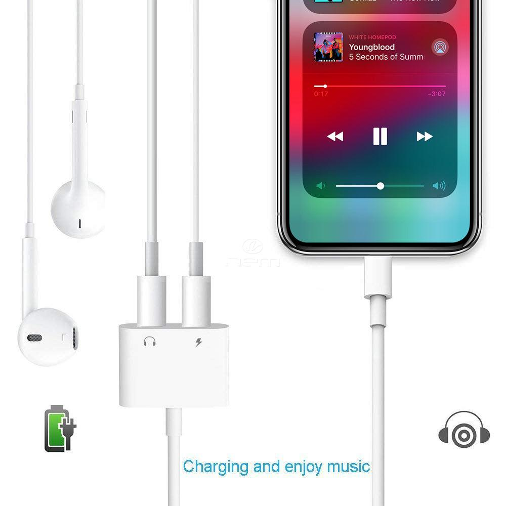 Apple iPhone / iPad 2-in-1 Dual Lightning Auxiliary Adapter Splitter Headphones Earphones Audio Charge Cable White by Modes