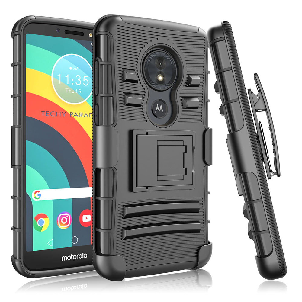 Motorola Moto G6 Play / G6 Forge / XT1922 Armor Belt Clip Holster Case Black by Modes