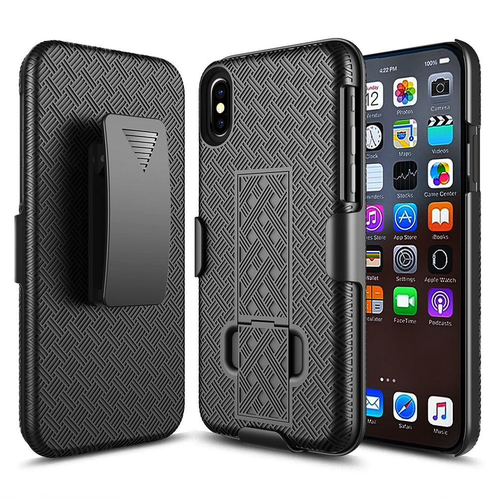 Apple iPhone X / 10 Plus Slim Hard Shell Holster Case with Kickstand Black by Modes