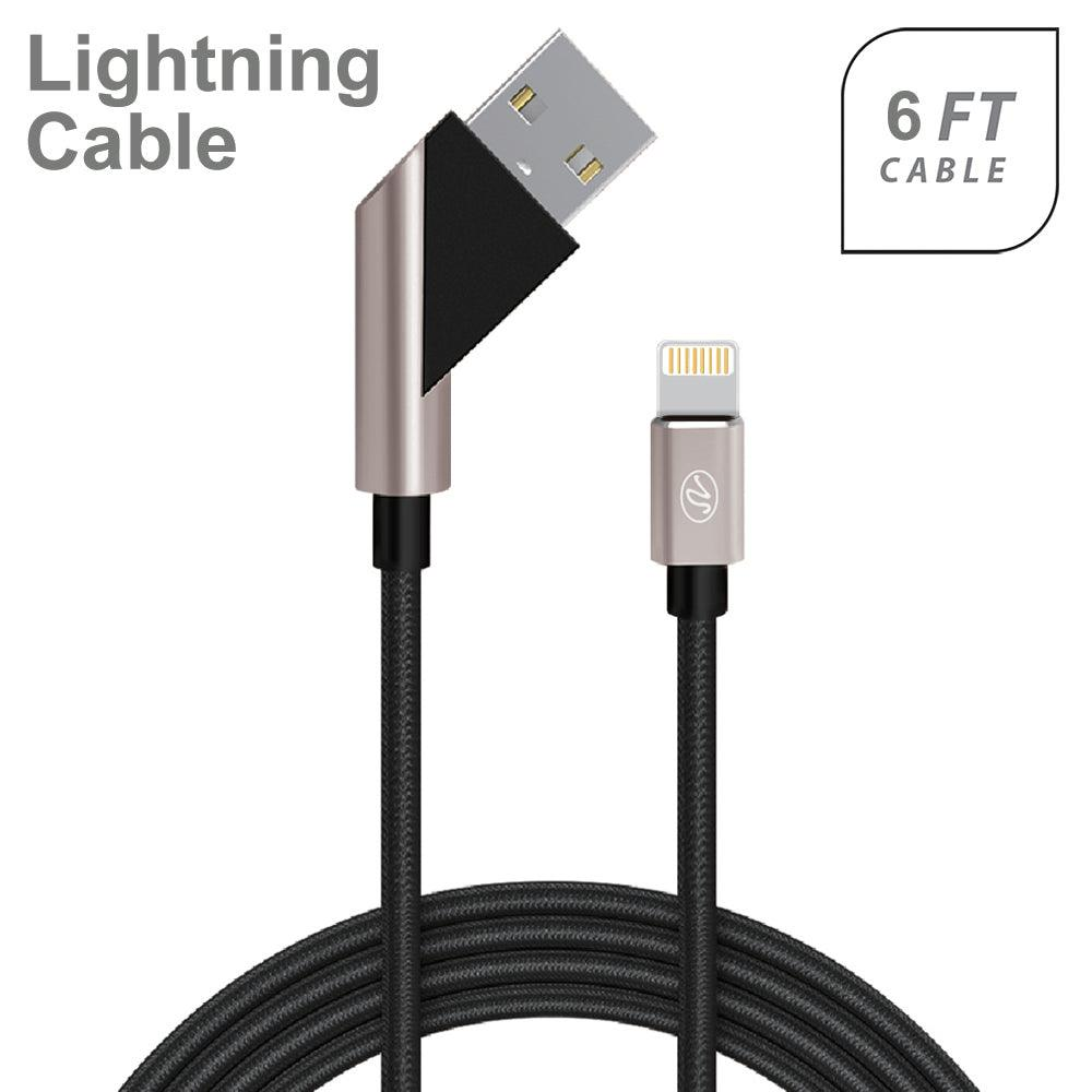 Apple iPhone 5/5S/SE 6/6S 7/8 7Plus/8Plus X/10 Fast Charge 6Ft 2.4Amp Angled Fabric Lightning USB Cable by Modes