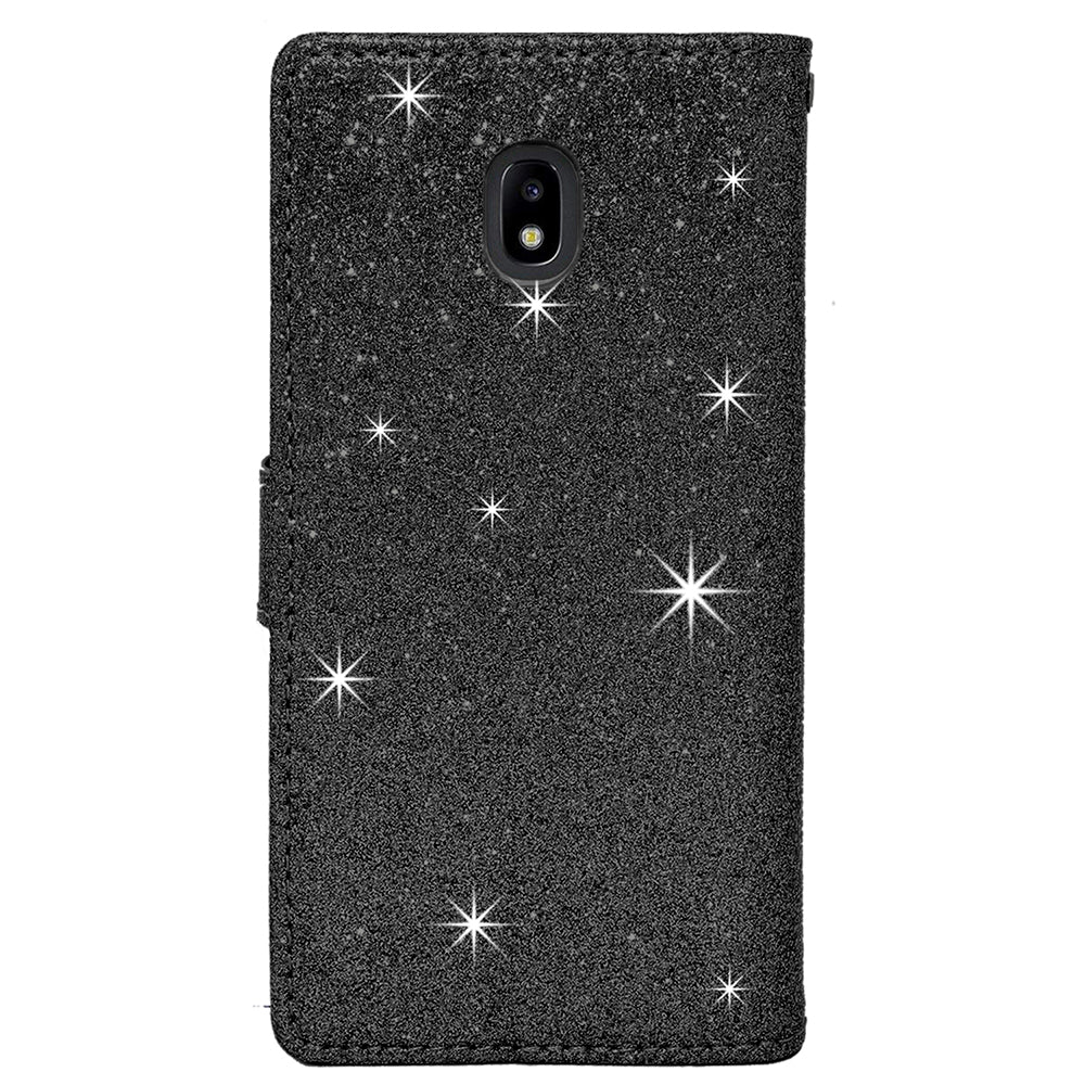 Samsung Galaxy J3 2018 / J337 / Achieve / Express Prime 3 / Star Diamond Bow Glitter Leather Wallet Case by Modes