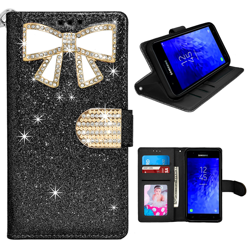 Samsung Galaxy J7 2018 / J737 / Refine Diamond Bow Glitter Leather Wallet Case by Modes