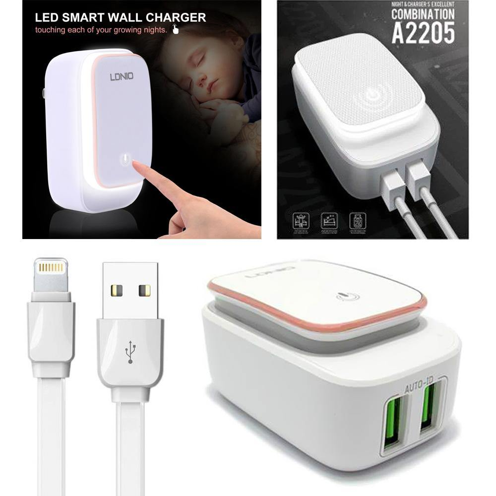 2.4A 2-in-1 Universal Dual USB Port LED Power Touch Night Lamp Travel Wall Charger Adapter W. Lightning Cable by Modes