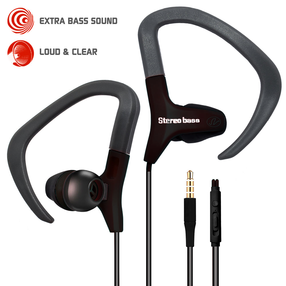 Sweat-proof Sports & Fitness Headphones Earphoness Earhook With Microphone Multifunction Control by Modes