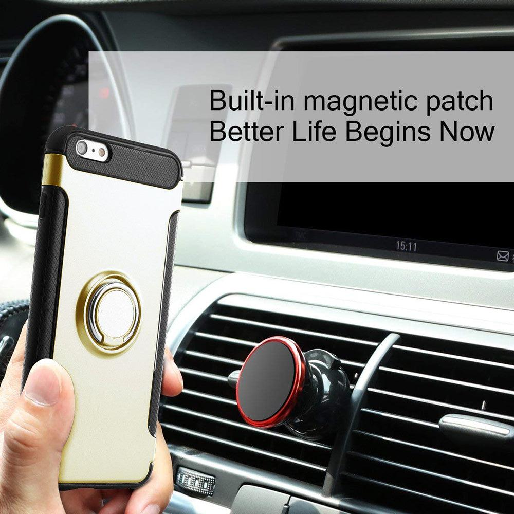 Apple iPhone 6/6S Plus Dual layer Hybrid Shockproof Magnetic Car Mount Finger Ring Stand Case by Modes