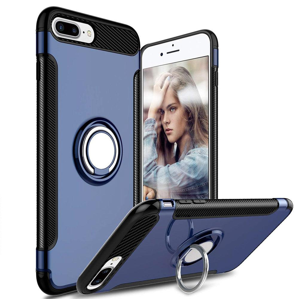 Apple iPhone 8 Plus / iPhone 7 Plus Dual layer Hybrid Shockproof Magnetic Car Mount Finger Ring Stand Case by Modes