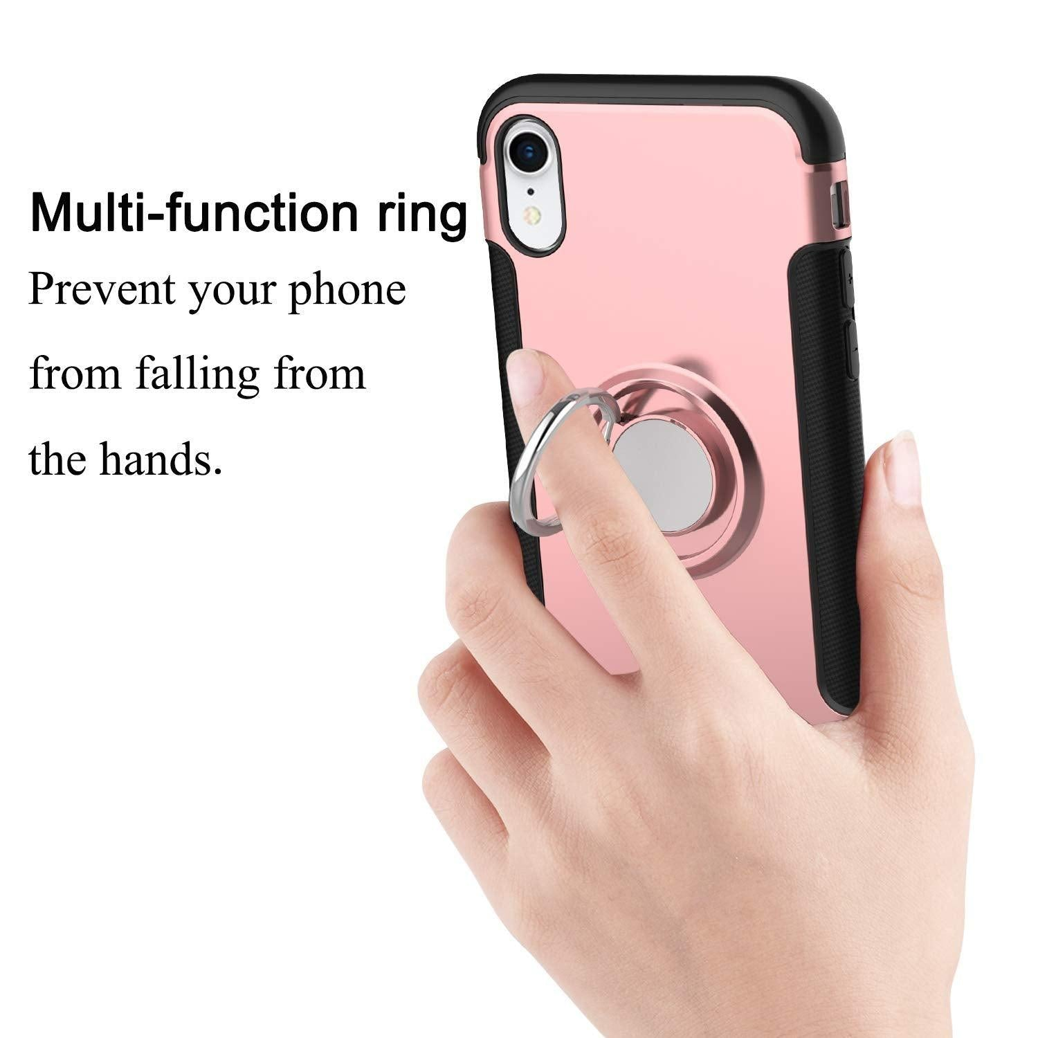 Apple iPhone XR Dual layer Hybrid Shockproof Magnetic Car Mount Finger Ring Stand Case by Modes