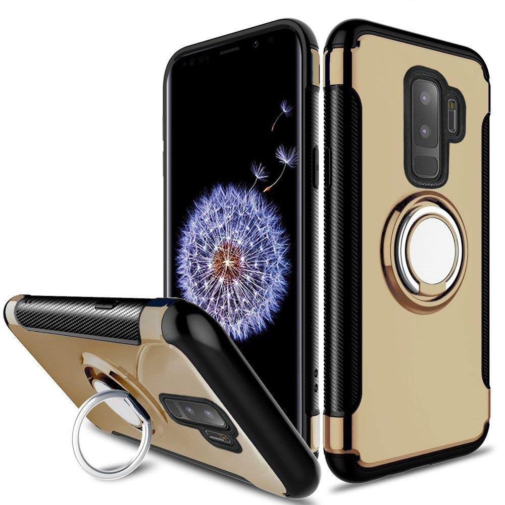 Samsung Galaxy S9 Plus Dual layer Hybrid Shockproof Magnetic Car Mount Finger Ring Stand Case by Modes