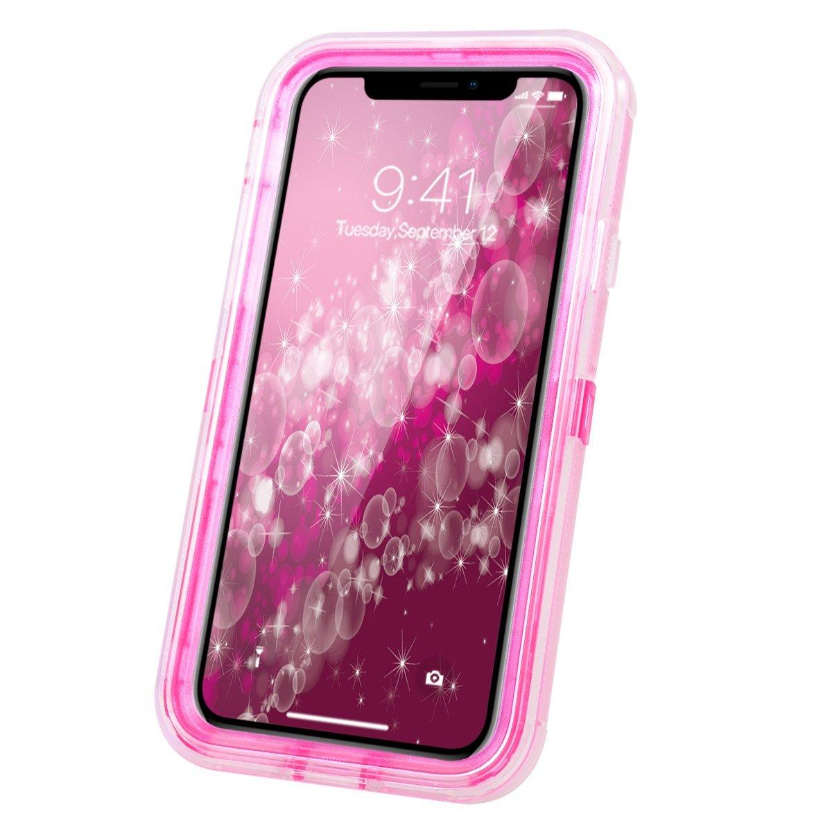Apple iPhone XS MAX (6.5inch) Tough Defender Sparkling Flowing Liquid Glitter Heart Case by Modes