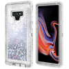 Samsung Galaxy Note 9 / N960 Tough Defender Sparkling Flowing Liquid Glitter Heart Case With Transparent by Modes