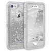 Apple iPhone 8 / iPhone 7 Tough Defender Sparkling Flowing Liquid Glitter Heart Case With Transparent Holster Clip by Modes