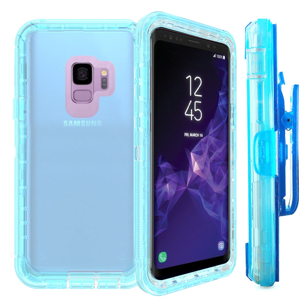 Samsung Galaxy S9 Plus Transparent Defender Armor With Clip Hybrid Case by Modes