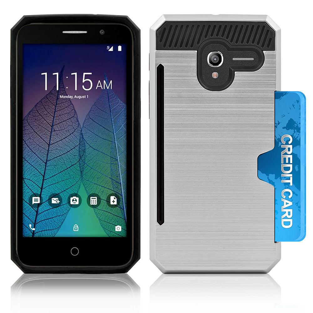 Alcatel OneTouch Tru / Stellar / 5060 / POP 3 Slim PC Brushed Metal Protective Credit Card Slot Case by Modes