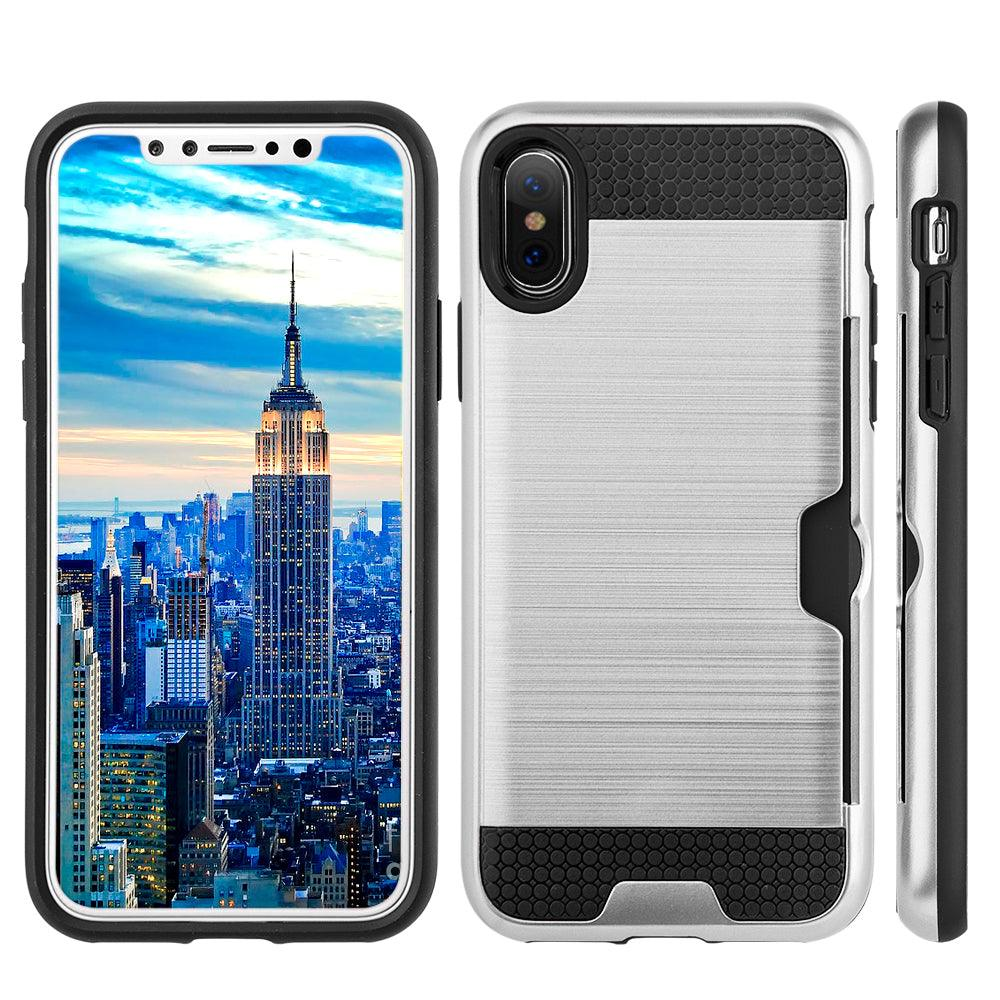 Apple iPhone X Slim PC Brushed Metal Protective Credit Card Slot Case by Modes