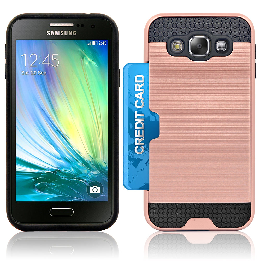 Samsung Galaxy E5 Slim PC Brushed Metal Protective Credit Card Slot Case by Modes