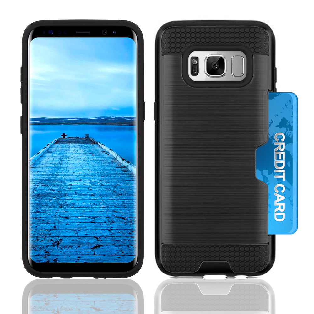 Samsung Galaxy S8 Slim PC Brushed Metal Protective Credit Card Slot Case by Modes