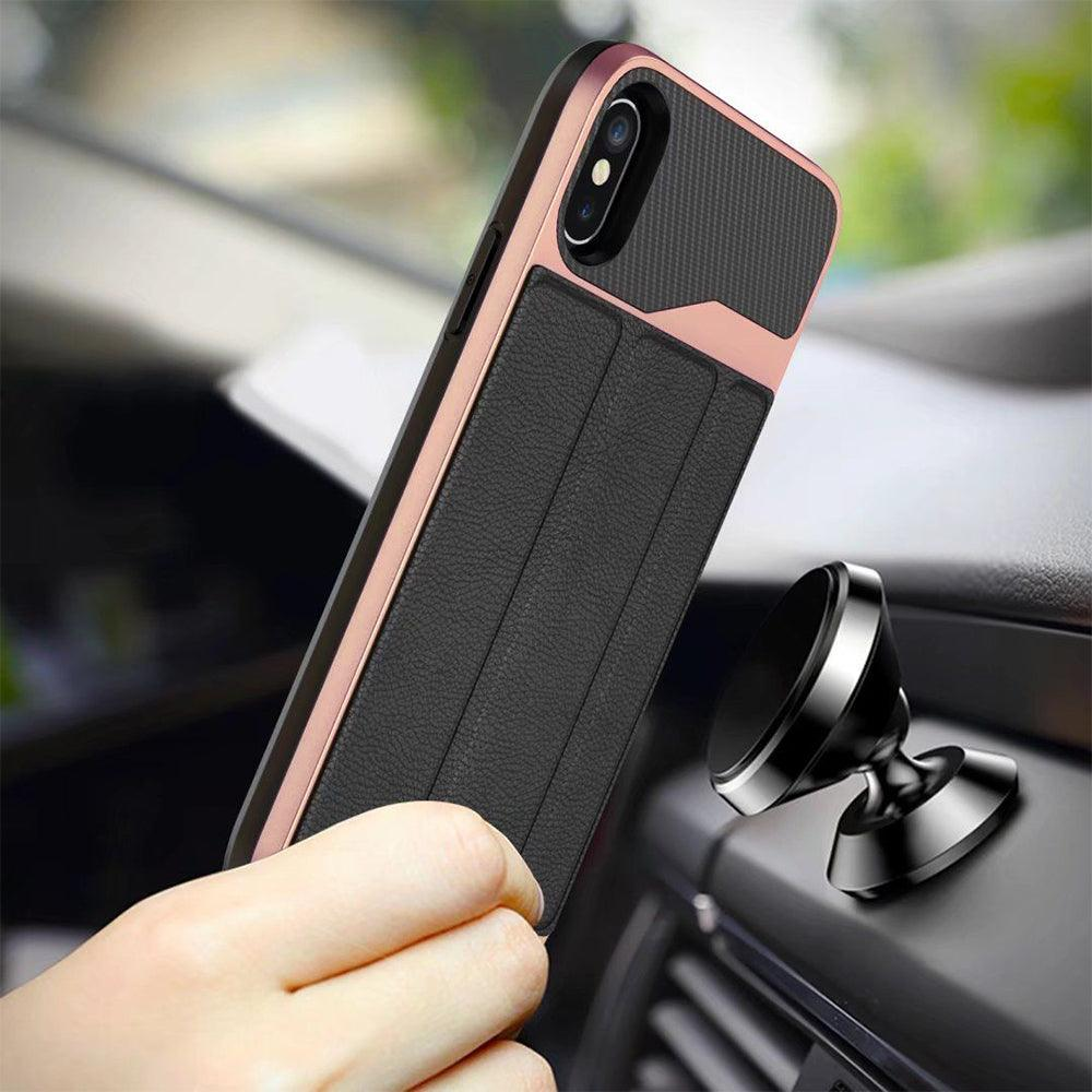 Apple iPhone XR Magnetic Car Mount Folio Leather Card Holder Wallet Stand Case by Modes