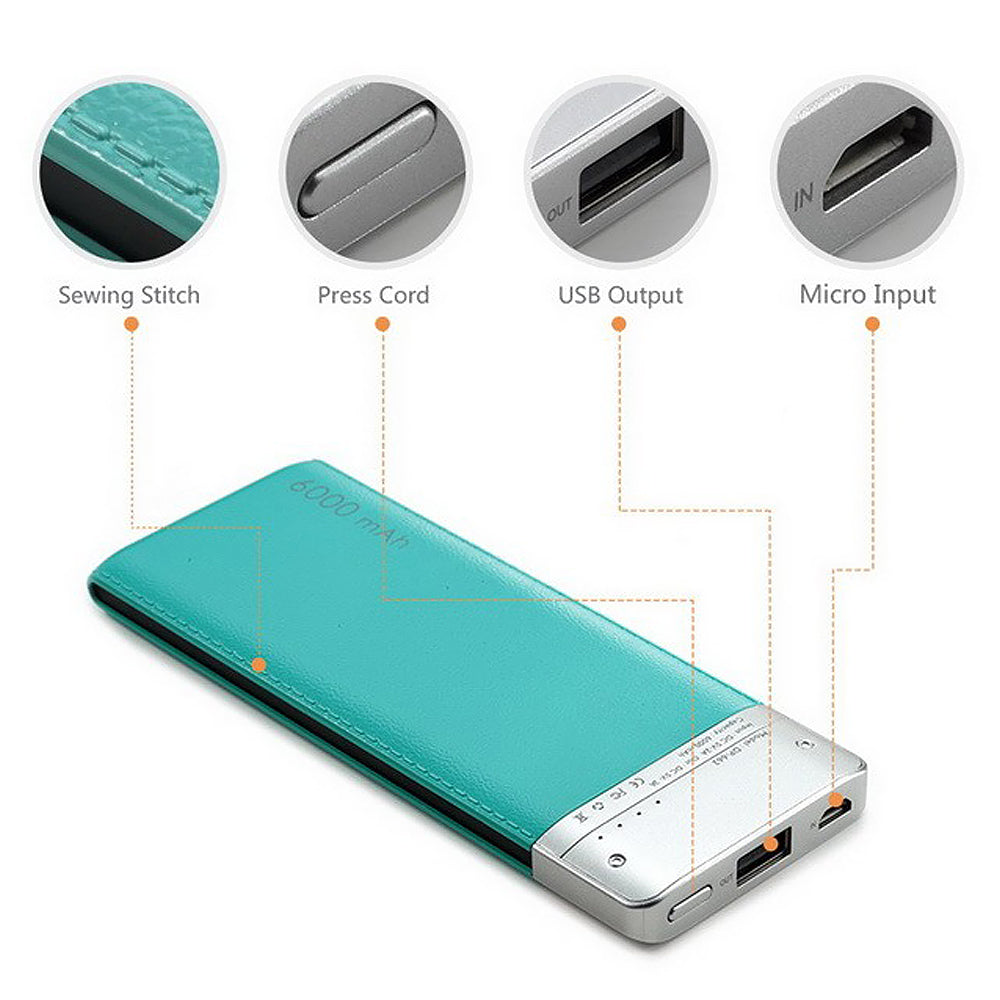 Universal Leather Power Bank Battery Portable Charger 6000 mAh by Modes