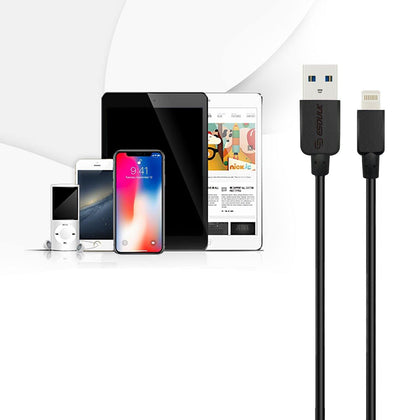 Reiko  Esoulk 10ft Round Cable For Apple Lightning 2a In Black