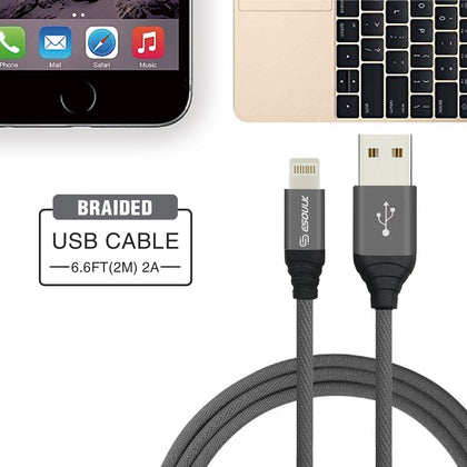 Reiko  Esoulk Canvas Cable 6.6ft  For Apple Lightning In Gray