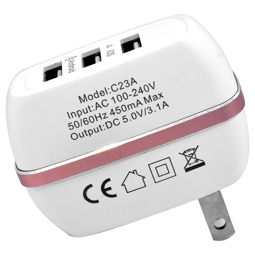 Universal Travel Charger Adapter 3 USB Ports 3.1A Supply Charger Socket Power by Modes