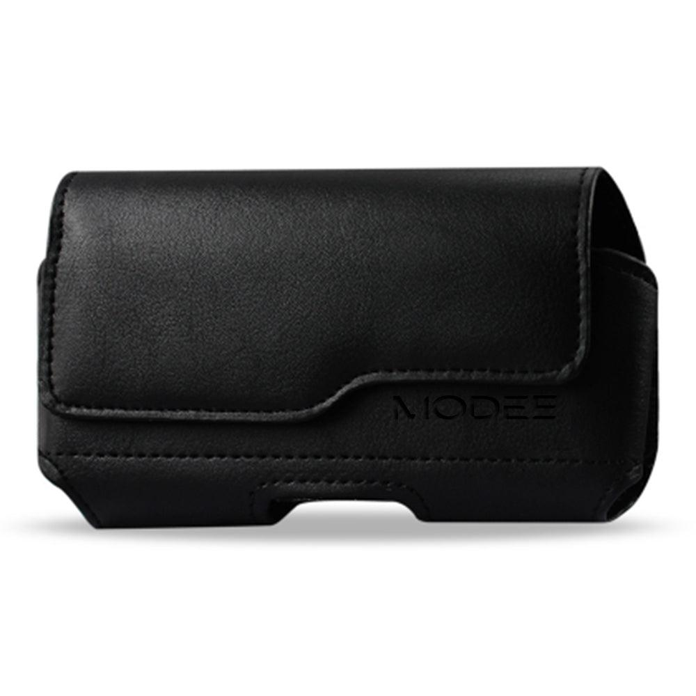 Apple iPhone 8 Plus / 7 Plus Horizontal Z Lid Leather Pouch - Fits Cell Phone With Case/Cover Black by Modes
