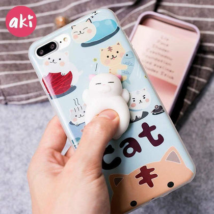 AKI Cute Squishy Animal Phone Cases for iPhone