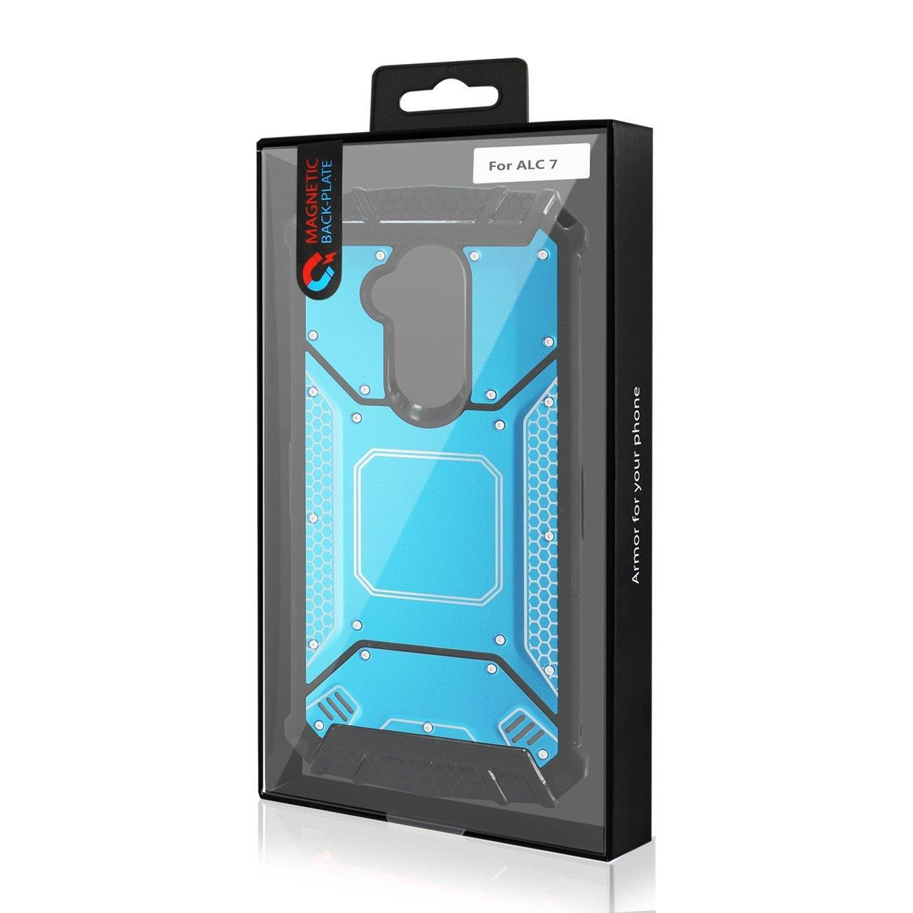 Alcatel 7 Folio Case with Metallic Front  Cover In Blue