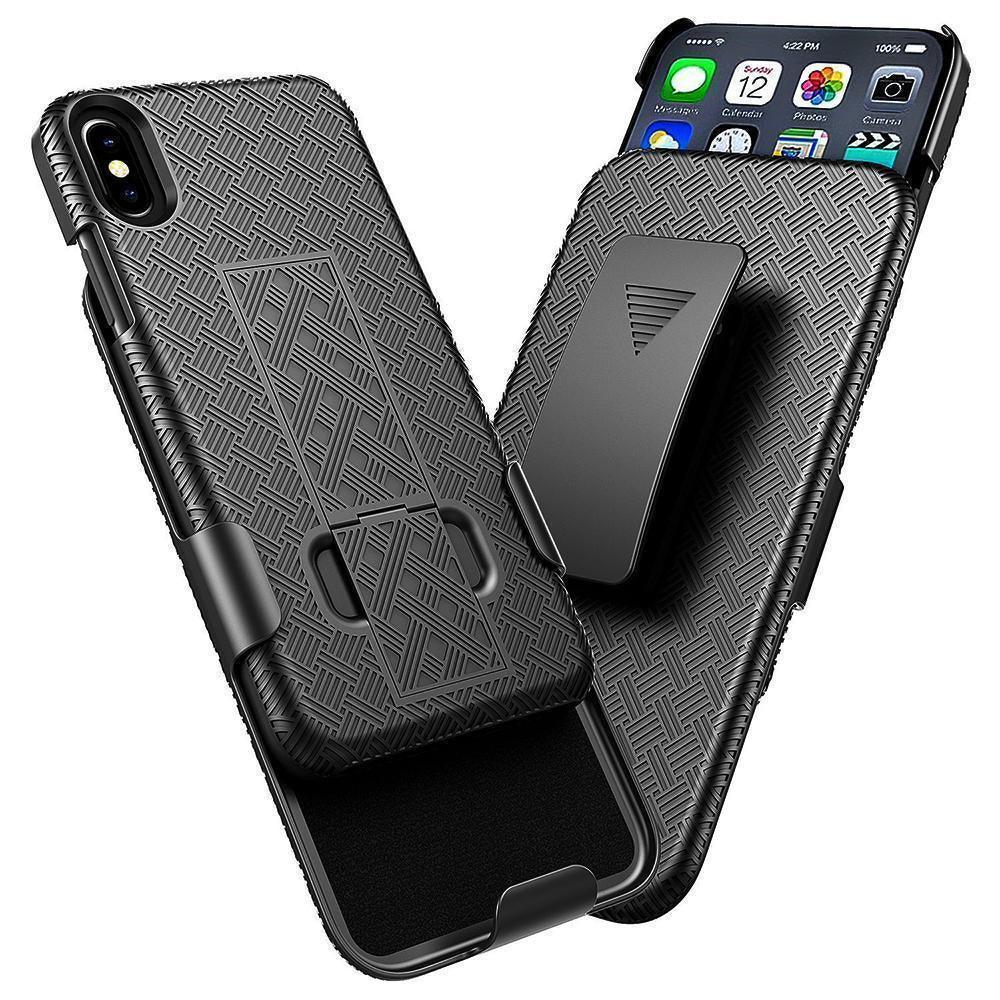 Apple iPhone XR (6.1inch) Slim Hard Shell Holster Case with Kickstand by Modes