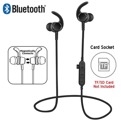 Bluetooth Wireless Sweat-proof Sports Magnetic Earbud Headphones With SD Card Slot by Modes