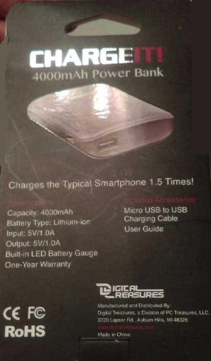 CHARGEIT 4,000mAh Power Bank 09997-PG