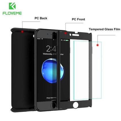 FLOVEME Full Coverage Case For iPhone 7 6 6S Plus 360 Degree Full Body Ultra Thin Hard PC Phone Cases For iPhone 5 5S 6 7 Case
